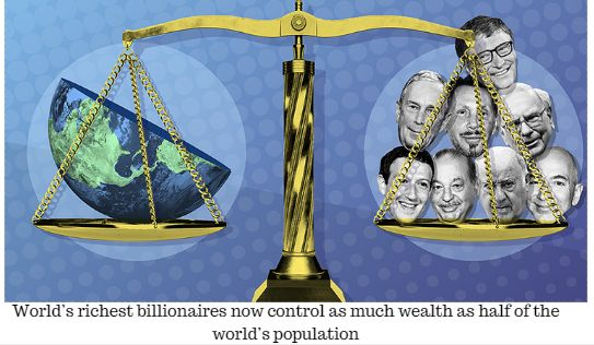 The world's richest billionaires control the same wealth between them as the poorest half of the world's population according to latest report.