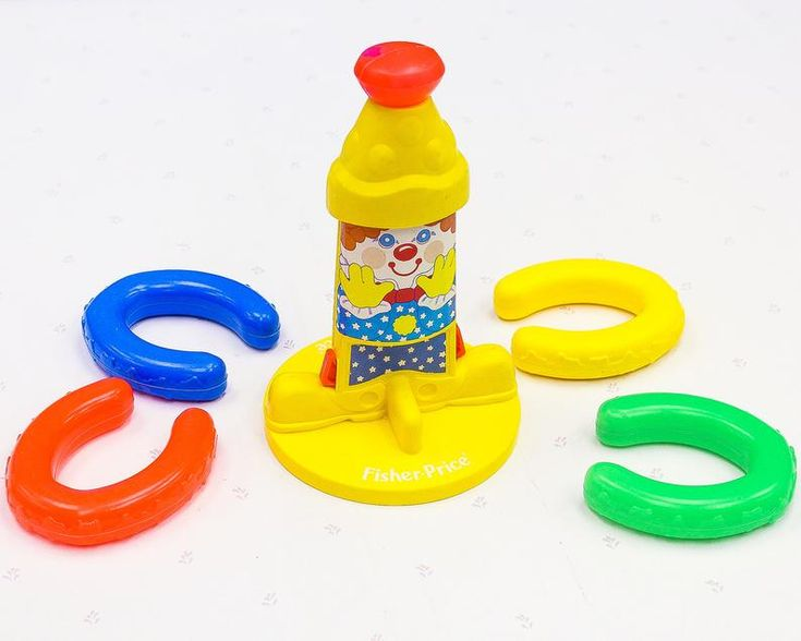 Fisher price ring toss kids toy carnival clown horseshoe