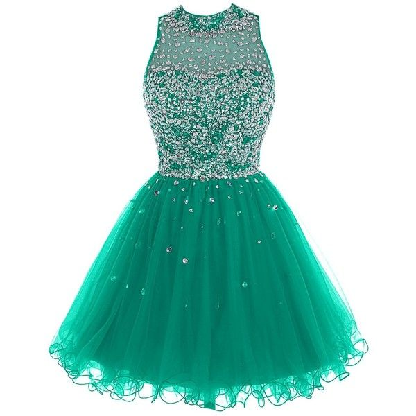 Bbonlinedress Short Tulle Beading Homecoming Dress Prom Gown ($59) ❤ liked on Polyvore featuring dresses, gowns, green evening dresses, beaded evening gowns, short dresses, green dress and prom gowns