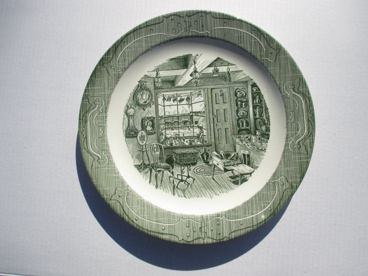 Royal China The Old Curiosity Shop Round Chop Plate Platter Green Transferware - 1950s by MarieWarrenArts on Etsy