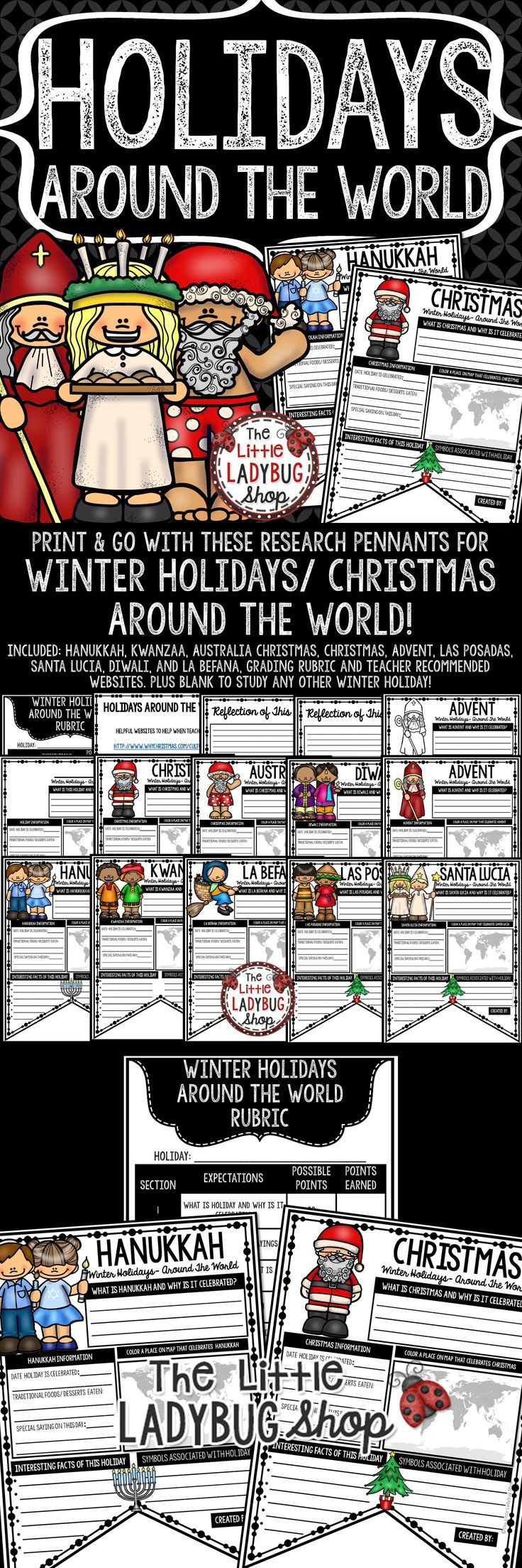 You will LOVE these Winter Holidays Around The World Pennants. You just need to Print & Go with these Christmas Around the World Activities to celebrate this special holiday learning about cultures around the world! There are perfect to use the month of December as mini research projects! YOU will LOVE displaying these Christmas Around The World Posters!