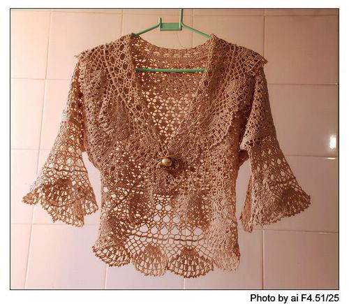 Beautiful lace bolero, free crochet patterns