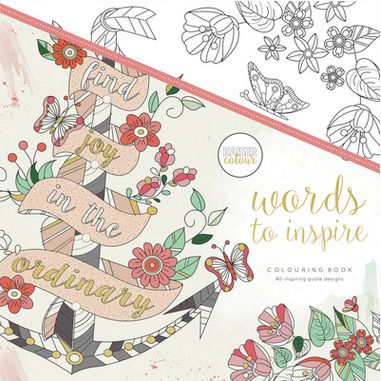 Words to Inspire - A collection of inspiring quotes and positive affirmations to brighten your day. Each page features pretty words and dainty illustrations for you to colour and decorate. Particularly drawn to a specific quote? Why not frame it as your own personal piece of artwork. Be happy, be bright, be you!