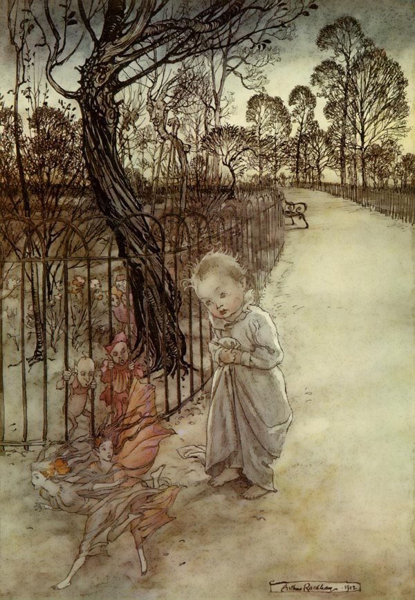 """This is a very interesting piece by Arthur Rackham, """"Peter Pan in Kensington Gardens"""". Good example of fae sizing and translucency."""