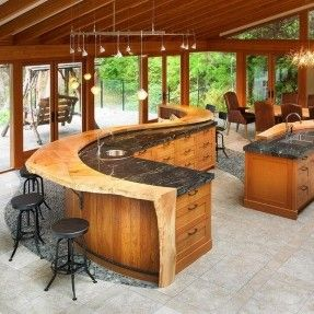 Rustic Kitchen & Island _ with Raw Polished Wood Counter Design - in Circular Shape - Pic # 9