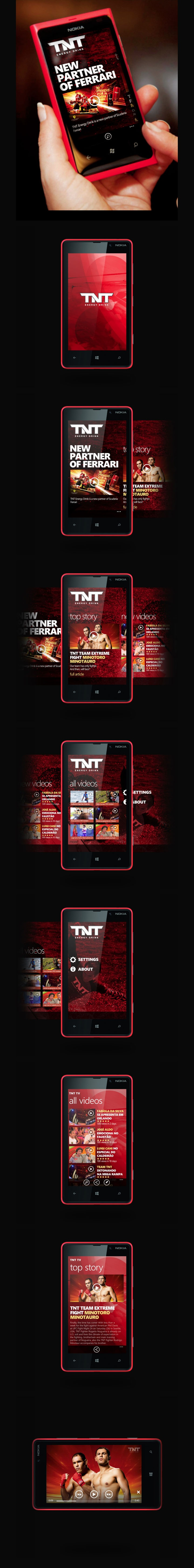 TNT Energy Drink - App for Windows Phone by Robson Pereira, via Behance  Proposed Application TNT Energy Drink