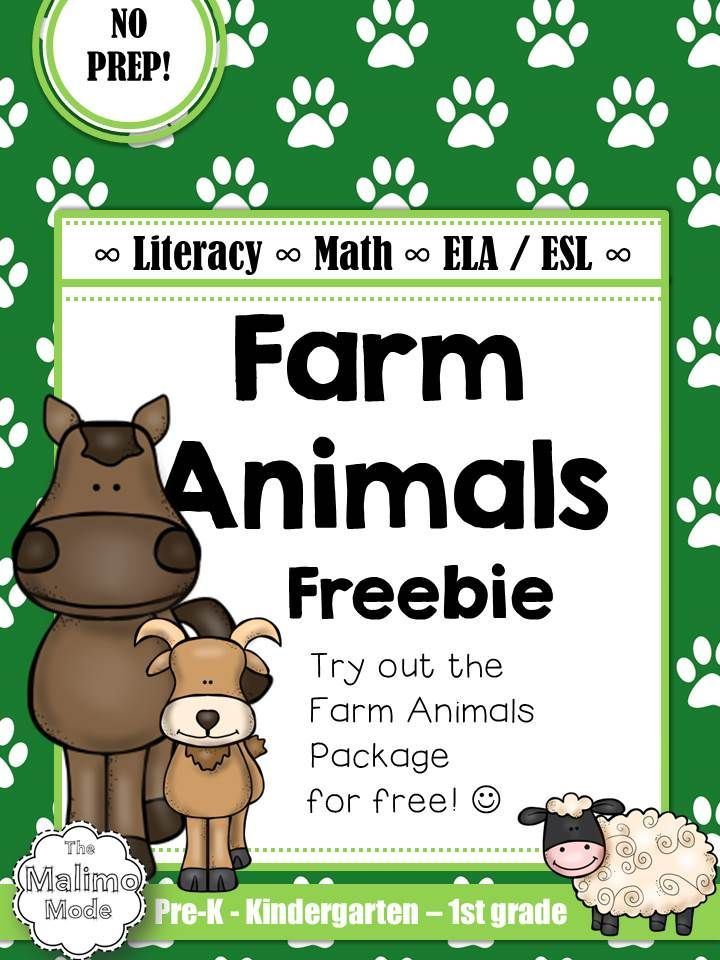 FREEBIE Farm Animals Vocabulary, Math and Literacy Package [ELA + ESL] [No Prep] This is a FREEBIE sample of the FULL Farm Animal Package. A selection of 10 pages from the available 70+ pages can be found in the sample.