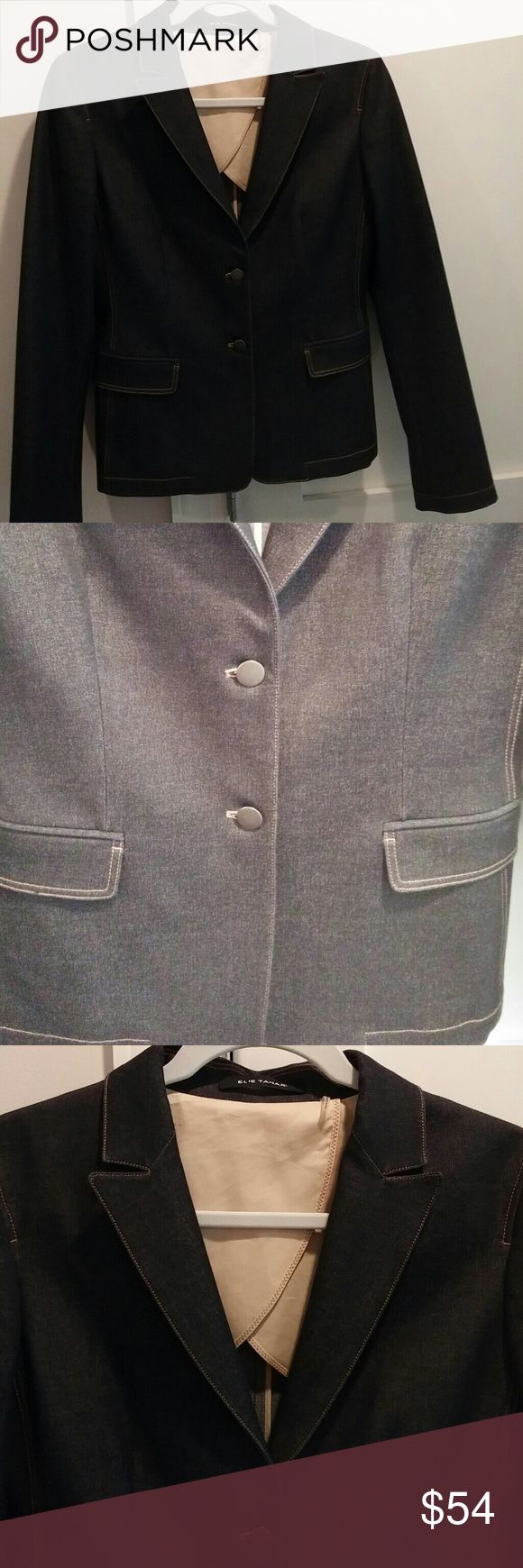 Elie Tahari fitted jean jacket Gorgeous Elie Tahari fitted jean jacket with a suit jacket Style. Dark blue with caramel color stitching. Excellent jacket for fall and business casual. Excellent condition. Elie Tahari Jackets & Coats Blazers