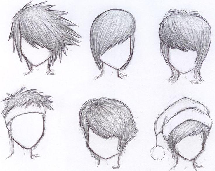 draw anime boy hair step