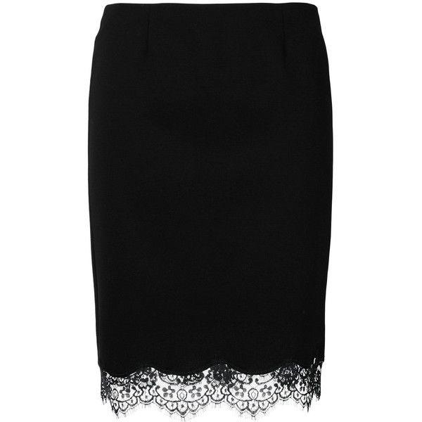 Blumarine lace trim skirt (757 CAD) ❤ liked on Polyvore featuring skirts, black, blumarine, blumarine skirt and lace trim skirt