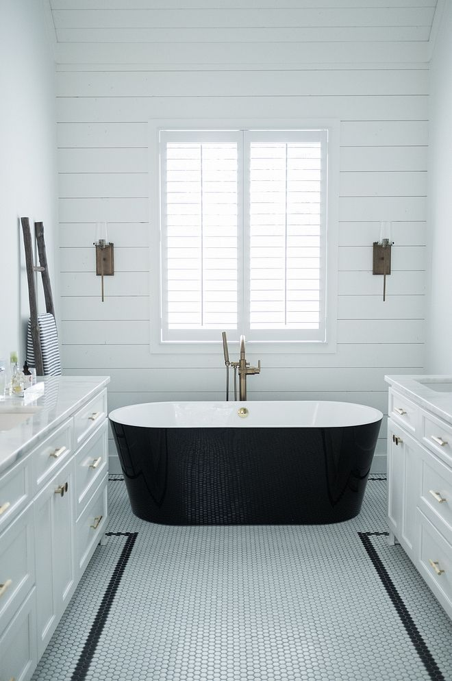 Black and white bathroom White bathroom with Penny Round ...