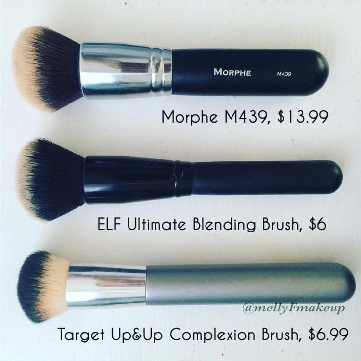 Vergleich des Morphe M439-Pinsels, des ELF Ultimate-Blending-Pinsels und des Target Up & Up-Teint-Pinsels. Folgen Sie meinem instagram @mellyfmakeup für die Überprüfung!