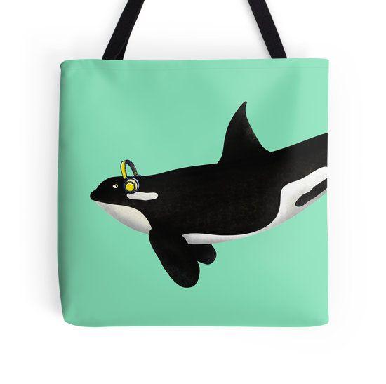 funny killer whale wearing headphones tote bag