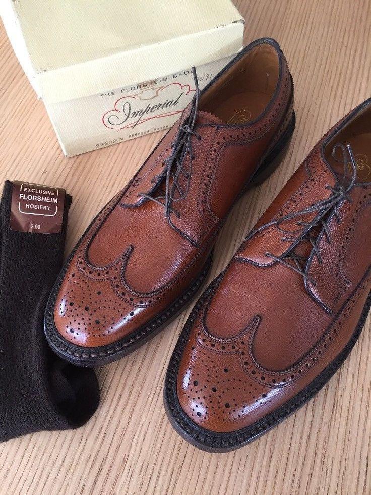 Vintage Florsheim Imperial Kenmoor 93602 Long Wing Tip 12 D Brown NOS NEW #Florsheim #WingTip