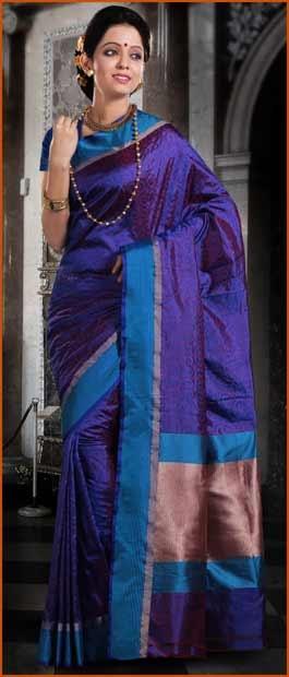Dark #Blue Pure Banarasi Valkalam #Silk #Saree with #Blouse @ $168.47 | Shop Here: http://www.utsavfashion.com/store/sarees-large.aspx?icode=snn55b