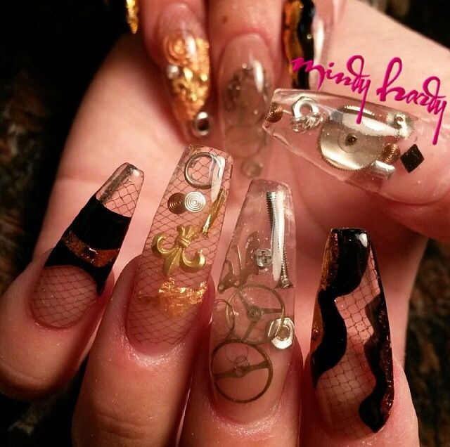 Acrylic nails by Mindy Hardy, Encapsulated coffin nails