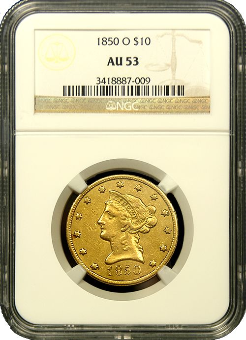 From a mintage of 57,500 coins comes this Pre-Civil War $10 Eagle from New Orleans.  Solid for the grade and under 350 are known in all grades combined by PCGS and NGC. - http://www.austincoins.com/offer/1850-O-$10-Liberty-Head-Gold-Coin-NGC-AU-53/16511