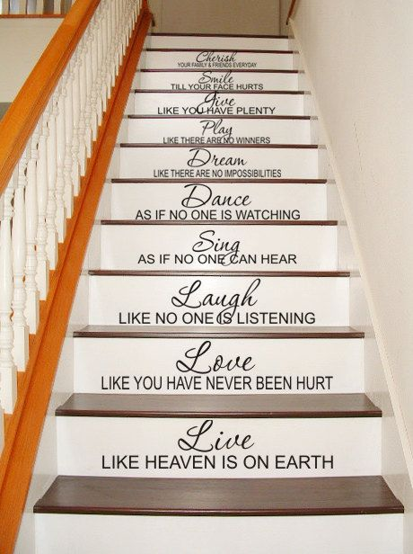 Stairway STAIRCASE DECAL Stairs - Live Love Laugh Sing Dance Dream Play Give Smile Cherish - Wall Decal Vinyl Decal Inspirational Home Decor