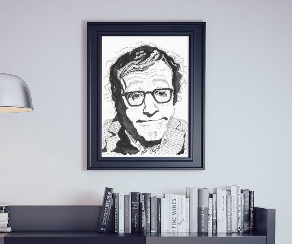 Poster Woody Allen, comedian, filmmaker, movie, glasses