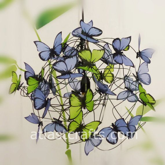 Lamp with green and lilac butterflies Under the by MatchDelacroix, €60.00