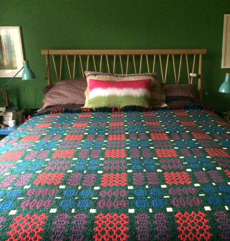 welsh blanket stunning green teal orange and pink king size blanket by