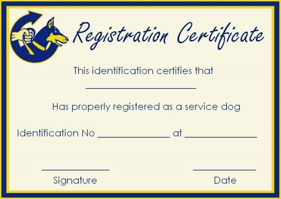 Service Dog Papers Templates Service Dogs Certificate