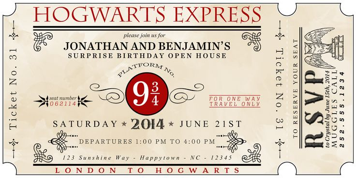 For our Harry Potter party invitations, I was inspired by many ticket invitations I came across during my idea search.  In the end, I create...