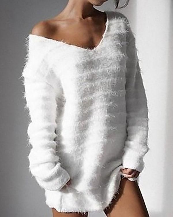 ed03ec0cf5 Long Sleeve V Neck Loose Sweater Dress Autumn Winter Casual Knit Pul –  lalasgal