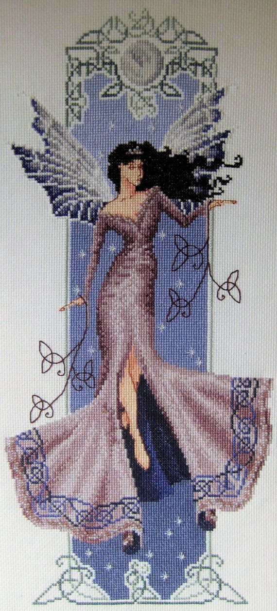 Mab, the Fairy Queen, is depicted against a dark night sky of violet blues under a silver full moon. Surrounded by a border of Celtic knotwork,