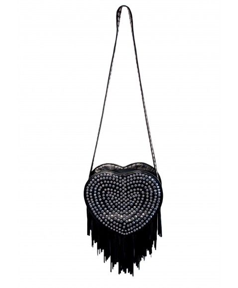 MARTINI + COZ HEART BAG - BLACK  Designed in Perth, WA black leather with stud detail on front and straps Leather fringe detailing Zip on top Inner zip pocket Fully lined  http://www.scarletrunway.com.au/accessories-c5/martini--coz-heart-bag---black-p63/
