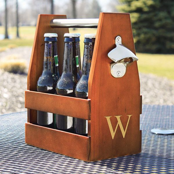 This classic amber-stained wood craft beer bottle carrier with stainless steel rod handle and bottle cap opener personalized with a large single gold initial on the side is the perfect gift for the best man or groomsman who likes to brew their own beer or cider. A functional Christmas gift for guys, this craft beer bottle carrier can be ordered at http://myweddingreceptionideas.com/wooden-craft-beer-carrier-with-opener.asp