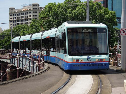 Sydney Light Rail, LRV2104 arrives at Central Railway