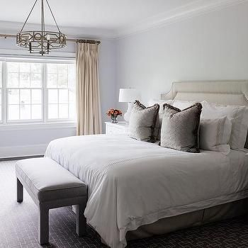 Taupe Headboard and Bedskirt, Transitional, Bedroom