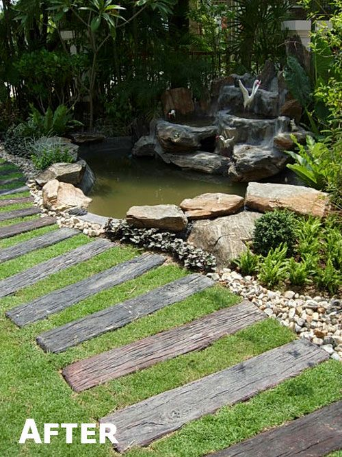 Garden steps using wooden sleepers google search for Garden pond design using sleepers