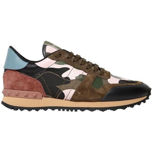 Valentino Women Camouflage Leather & Suede Sneakers ($755) ❤ liked on Polyvore featuring shoes, sneakers, suede leather shoes, camo sneakers, genuine leather shoes, camouflage shoes and studs shoes