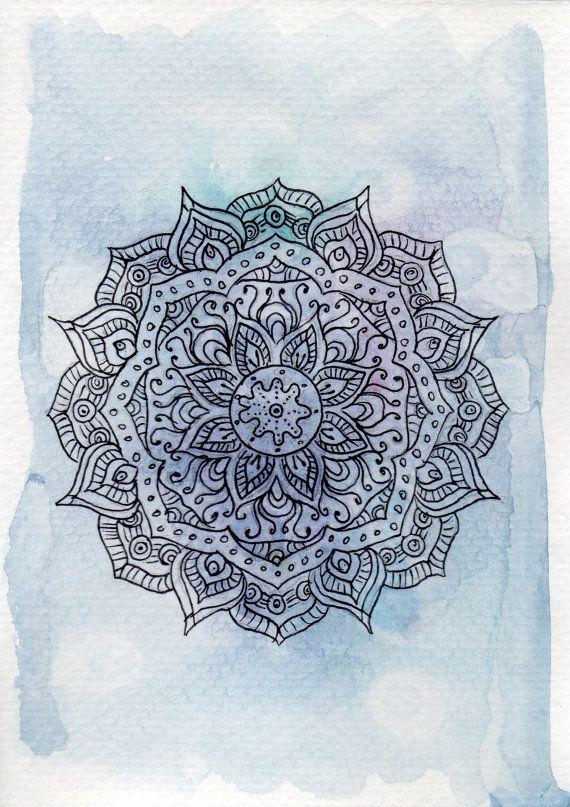 Mandala de púrpura y azul acuarela impresión, impresión del arte de Mandala, Yoga arte, arte floral, arte geométrico, decoración para el hogar