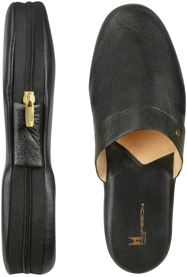 Moreschi Amerigo - Black Calf Leather Travel Slippers w/Case