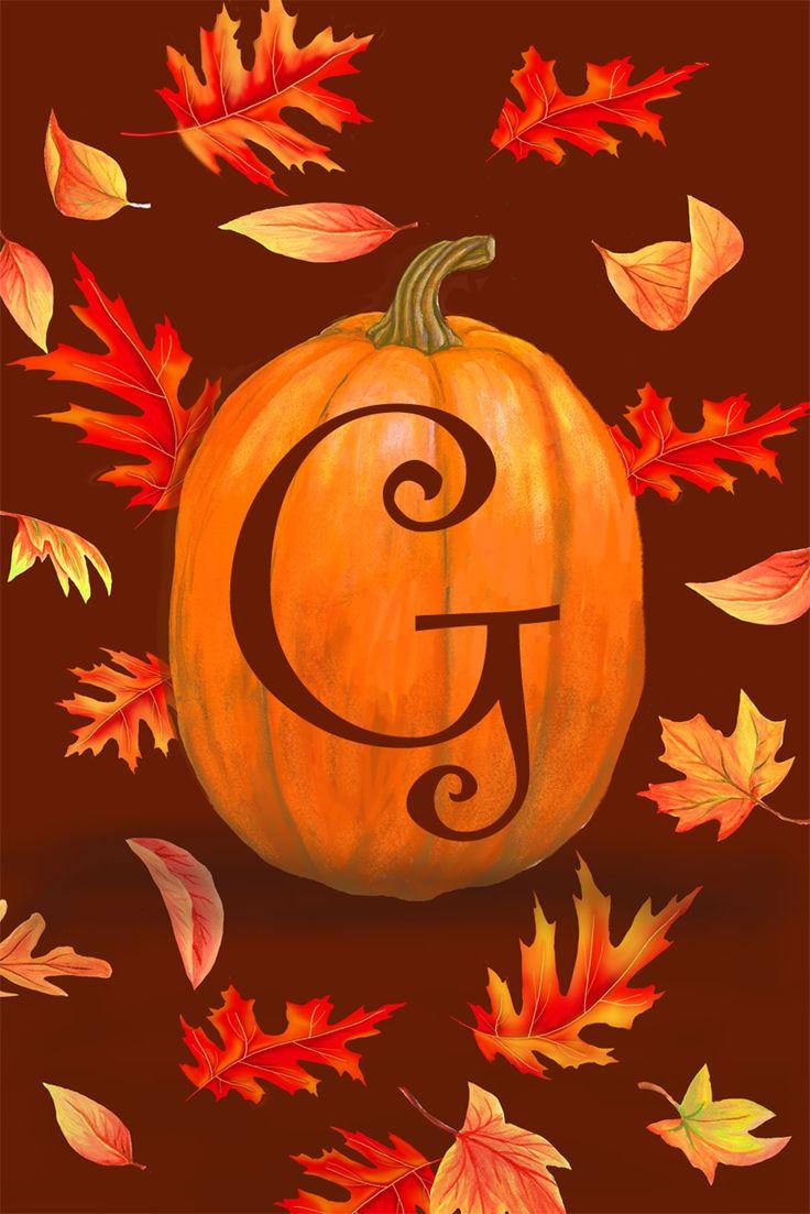 "Pumpkin Leaves Monogram ""G"" Mini Flag"
