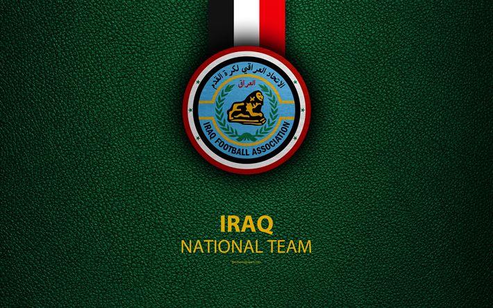 Download wallpapers Iraq national football team, Lions of Mesopotamia, 4K, leather texture, Iraq Football Association, IFA, emblem, logo, Asia, football, Iraq