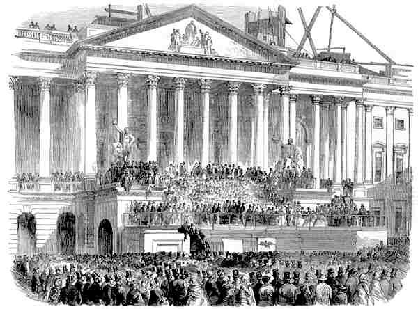 INAUGURATION OF MR. BUCHANAN AS PRESIDENT OF THE UNITED STATES, AT WASHINGTON. - BY WHITCHURCH OF WASHINGTON. USA: WASHINGTON DC.Inauguration President BUCHANAN.1857