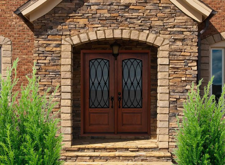 Superior Exterior, : Artistic Front Porch Design With Brown Brick Stone Wall Combine  With Dark Brown Wooden Double Door Also Brown Stone Flooring