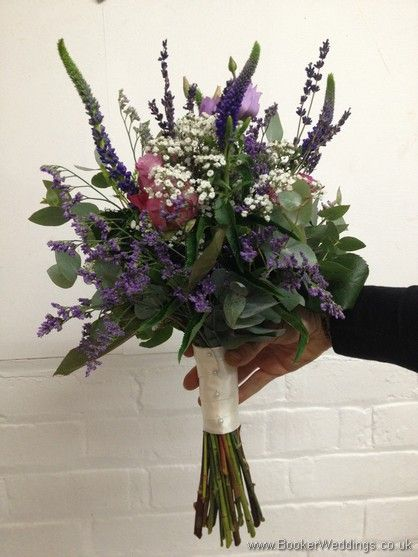 Just Picked Country Flowers in purples and lilacs with grey foliage with roses, lissianthus, veronica, gypsy grass and eucalyptus Bridesmaid Bouquet Side View  Wedding Flowers Liverpool, Merseyside, Bridal Florist, Booker Flowers and Gifts, Booker Weddings
