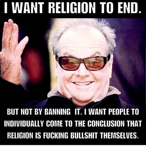 Banning religion is a terrible idea. Stupid opinions should never be legislated against. The best we can hope for is damage limitation. The separation of church and state is a necessary damage limitation measure in an age where many people are...
