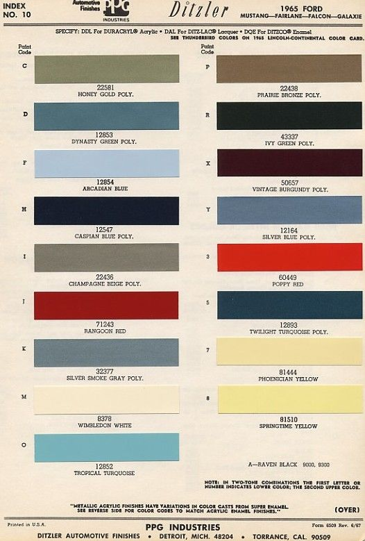 Ford Interior Color Code Chart
