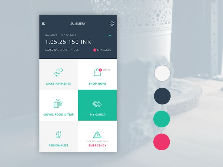 Working on mobile application UI for a bank. Here is the dashboard screen, please share your views on UI, especially colors.