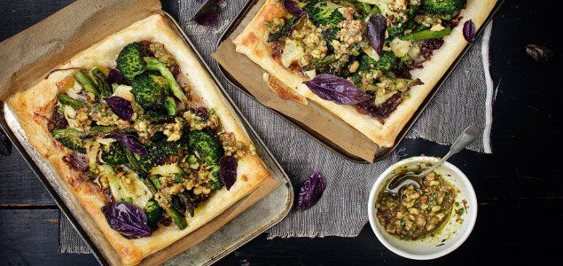 Take humble broccoli to tasty new heights with this easy tart recipe using a delicious onion jam and spicy walnut chilli pesto.