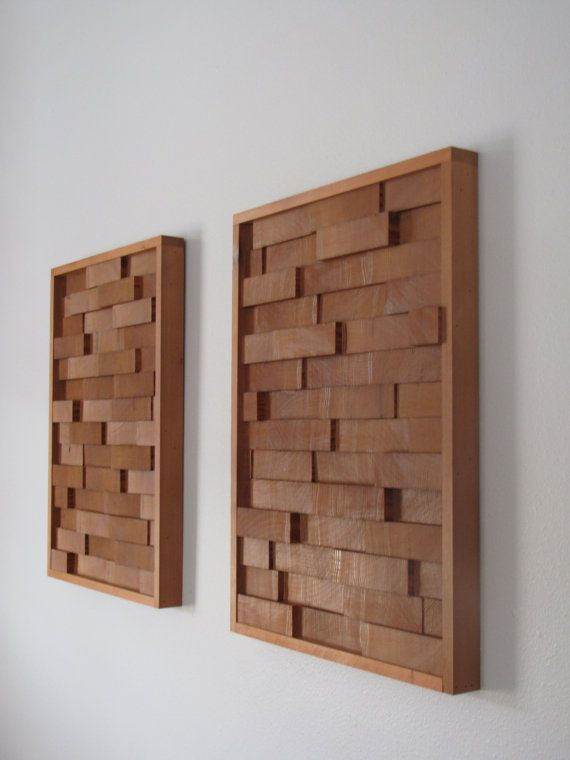 Modern REDWOOD 3D Wood Block Minimalist Wall Art - set of two - SEQUOIA    Approx measurements: 15 5/8 inches wide X 21 1/4 inches tall    The blocks were cut, sanded and then glued to a thin board. There are zigzag hooks on the back of each so that you can hang. There are also two pads on the back to provide a buffer from the wall. I have photographed in a living room that has the walls painted light blue. It has been sprayed with a sealer. You will get BOTH of them. The blocks have not…