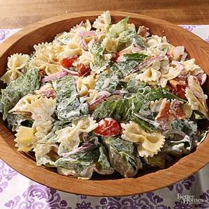 Yep all the ingredients are here -- bacon, lettuce, tomato, and a few more goodies like a creamy dressing and pasta./