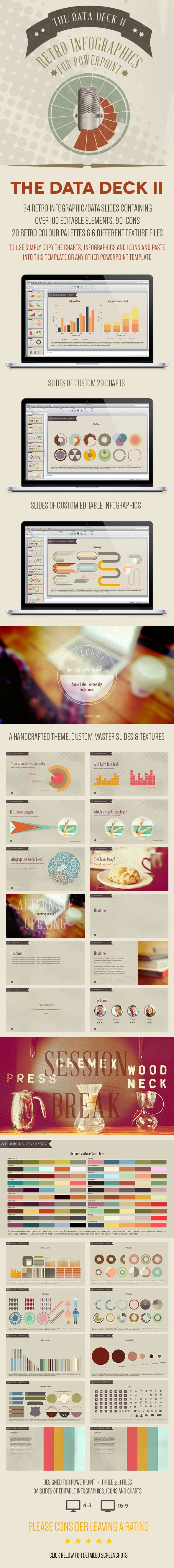 Retro Powerpoint Infographics For those who need infographics, charts, banners and icons in their presentations • Available here → http://graphicriver.net/item/the-data-deck-ii-retro-powerpoint-infographics/6504267?s_rank=141&ref=pxcr