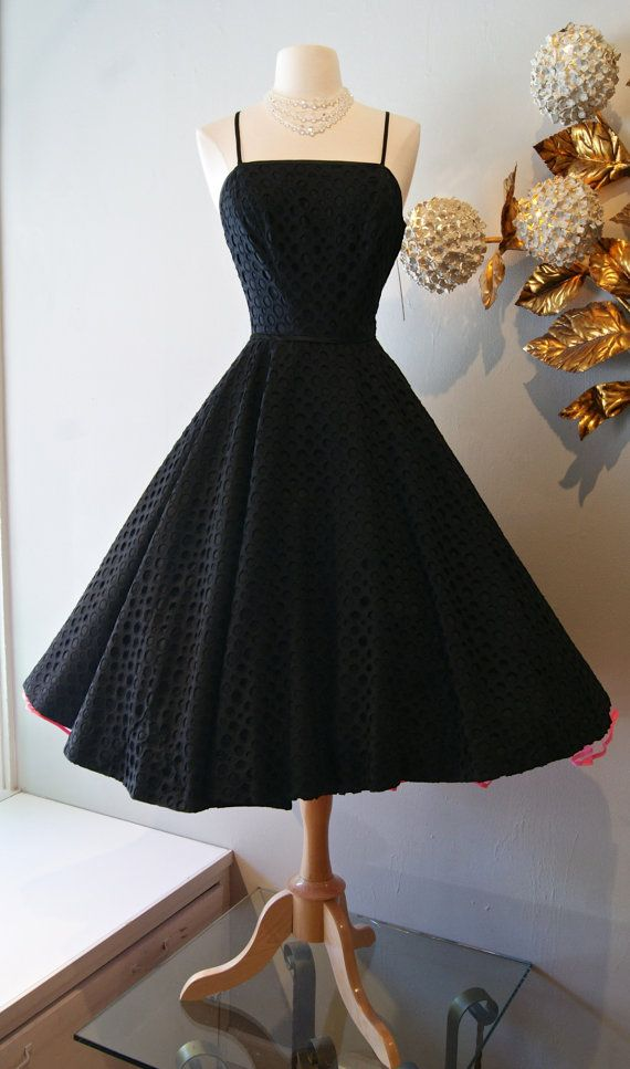 1950s Dress / Vintage 50s Arkay Black Cotton Party Dress